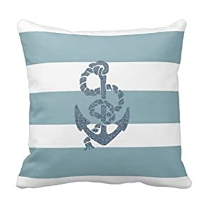 Throw Pillow Protective Covers : Amazon.com: Soft Accent Pillows Nautical Stripes Anchor Throw Pillows Case 18 x 18