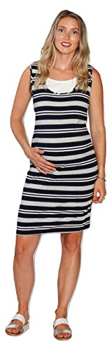 Angel Maternity Breastfeeding Maxi Busy Mama Nursing Dress in Navy Stripes - The...