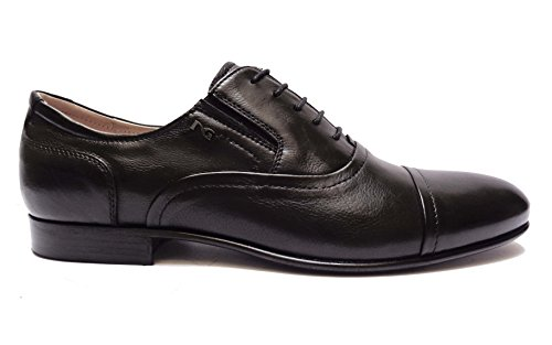 Nero Giardini 5080 scarpe classiche da uomo in pelle nappata col. Nero fondo cuoio + antiscivolo, num. 44