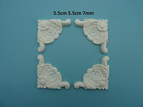 - Decorative Plume Scroll Corners x 4 Applique onlay Furniture Moulding PSC3
