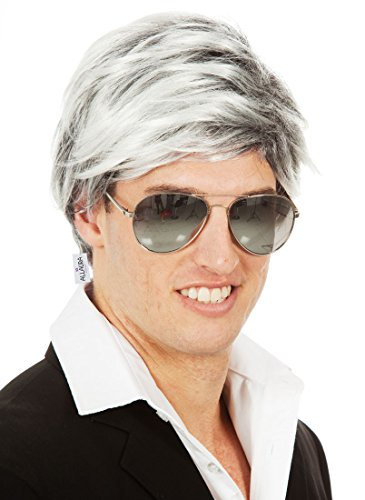 ALLAURA Bill Clinton Leno Grey Wig Old Man Costume Silver Mens Hair Wigs Late Night -