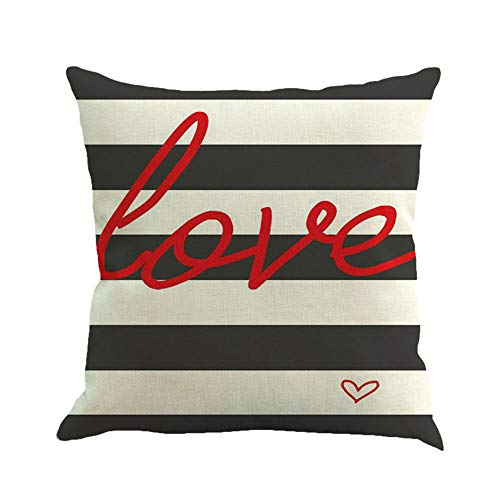 Aliaicat Valentines Pillow Case 18x18 for Couch Love Red Black Buffalo Check Plaid Happy Valentine
