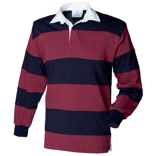 Front Row Men's Long Sleeve Sewn Stripe Rugby Shirt Burgundy/Navy/Burgundy L ()