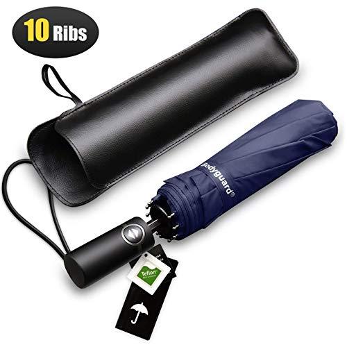 Bodyguard 10 Ribs Compact Travel Umbrella, Large Blue Windproof Umbrella with Auto Open Close Button, Teflon Fabric Protection