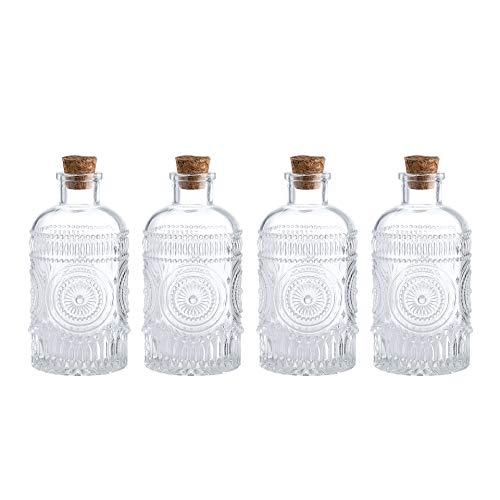 (Whole Housewares Vintage Design Embossed Clear Glass Bottles,Glass Flower Bud Vase with Cork Lid Set of 4)