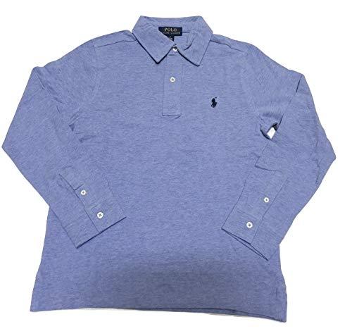 Polo Ralph Lauren Boys (8-20) Long Sleeve Mesh Polo Shirt (Large (14-16), Blue Heather)