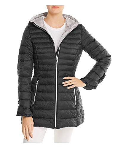 Black T Tahari Women's Maya Ruffled Puffer Packable Coat With Ruffles (XL)