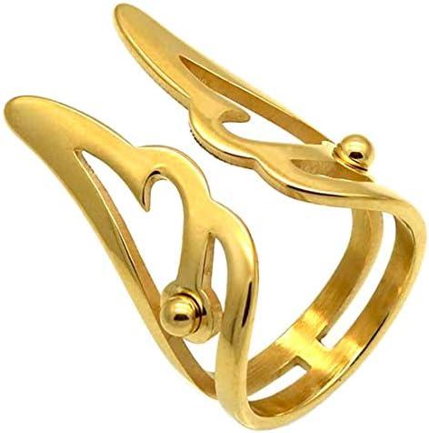 指輪 リング メンズ ゴールドエンジェルウイングステンレスリング(LRC247)サイズ/28号 フリーサイズ ファランジリング サージカルステンレス 316L 天使の羽根