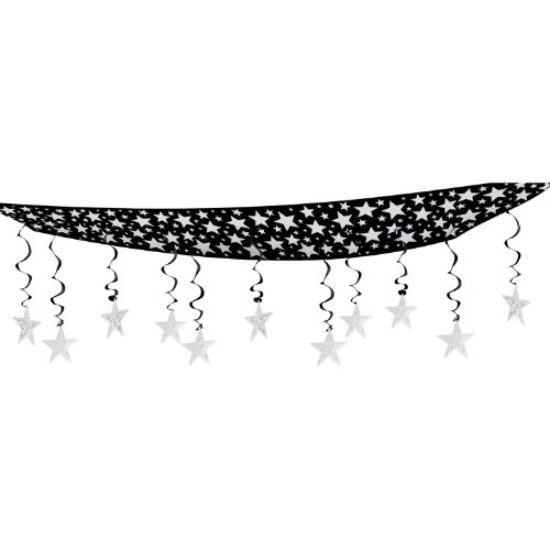 Beistle 1-Pack The Stars Are Out Ceiling Decor, 12 by 12-Feet, (Hanging Ceiling Decor)