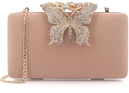 (Dexmay Unique Velvet Clutch with Rhinestone Crystal Butterfly Clasp Women Evening Bag for Formal Party Nude )