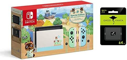 Nintendo Switch Pastel Green and Blue Joy-Con Console - Animal Crossing: New Horizons Edition Bundle 64GB MicroSD Card
