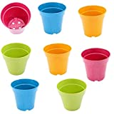 Set of 8 Round Mini Planters, Made of Bamboo Fiber (Assorted)