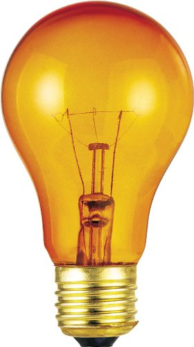 Westinghouse 0344300, 25w, 120v Trans Amber Incandescent A19 Light Bulb - 2500 Hour, 6-Pack ()