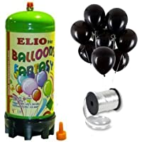 Helyum Gazı Tüp + 20 Adet Siyah Balon Metalik Uçan Balon + İpi