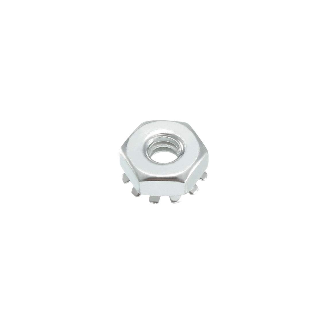 uxcell M6 X 1-Pitch Carbon Steel Female Thread Kep Hex Head Lock Nut 100pcs