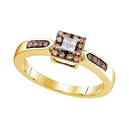 - Size - 7 - Solid 10k Yellow Gold Princess Cut Round White and Chocolate Brown Diamond Engagement Ring OR Fashion Band Invisible Set Square Shape Solitaire Shaped Halo Ring (1/4 cttw)