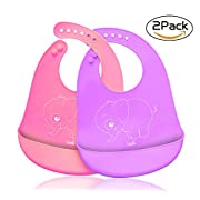 Cos2be Waterproof Soft Silicone Bibs Easily Wipes Clean, Adjustable Snaps Baby Bib for Babies & Toddlers
