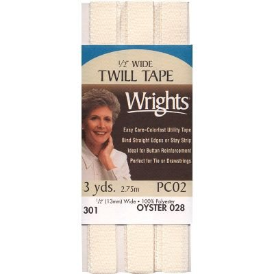 Wrights 117-301-028 Twill Tape, Oyster, 3-Yard