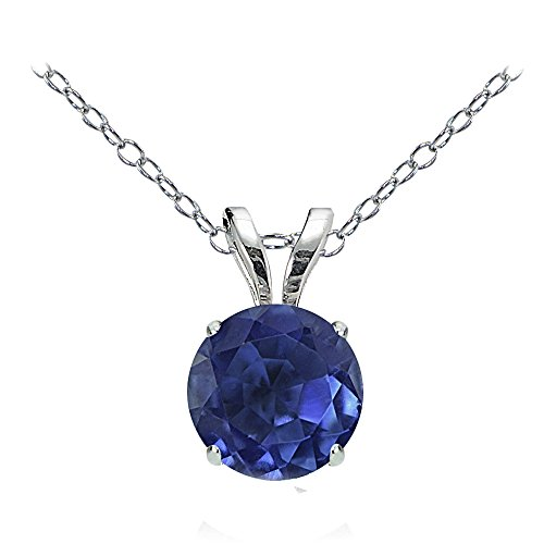 Gem Crystal 14k Pendant (Bria Lou 14k White Gold Natural Kyanite Gemstone 6mm Round Solitaire Pendant Necklace, 18