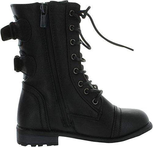 Link Mango-61K Girls Zipper Military Combat Boot