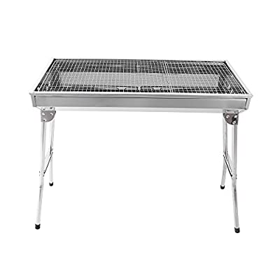 Barbecue Charcoal Grill Stainless Steel Folding Portable BBQ Tool Kits for Outdoor Cooking Camping Hiking Picnics Tailgating Backpacking or Any Outdoor Event (Large)
