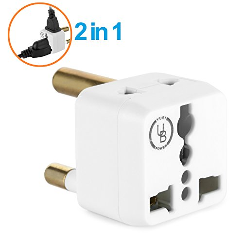 Yubi Power 2 in 1 Universal Travel Adapter with 2 Universal Outlets - Built in Surge Protector - White - Type M for South Africa, Lesotho, Mozambique, Namibia, Nepal and more! (South African Plug compare prices)