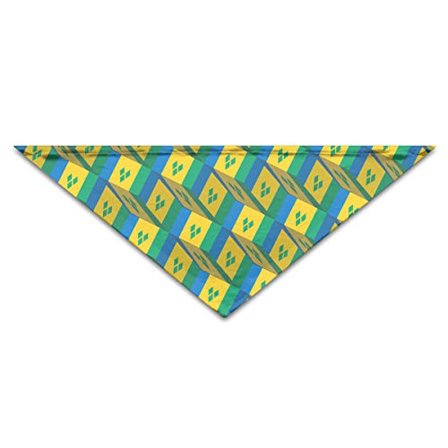 OLOSARO Dog Bandana Saint Vincent and The Grenadines Flag 3D Art Pattern Triangle Bibs Scarf Accessories for Dogs Cats Pets Animals ()