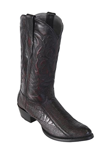 Men's Medium R-Toe Black Cherry Genuine Leather Ostrich Leg Skin Western Boots -