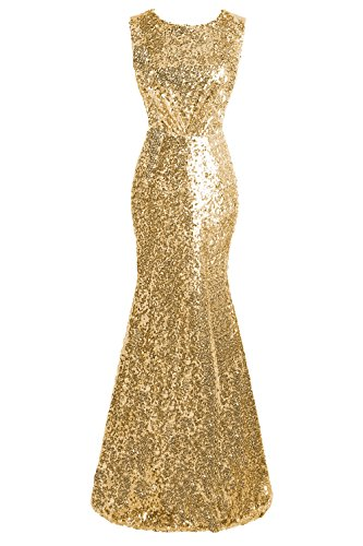 d3d25ff3515 Topdress Women s Mermaid Long Bridesmaid Dress Sequins Wedding Party Prom  Gown Gold US 14 New .