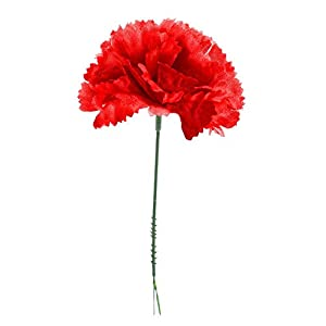 MARJON FlowersRed Silk Carnations, Artificial Fake Flower for Bouquets, Weddings, Cemetery, Crafts & Wreaths, Stem Pick (Bulk) 61