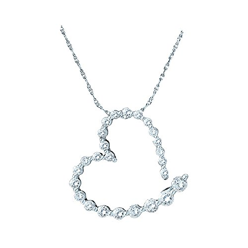 Roy Rose Jewelry 14K White Gold Ladies Diamond Graduated Heart Journey Pendant 1-Carat - Diamond One Pendant Journey Carat