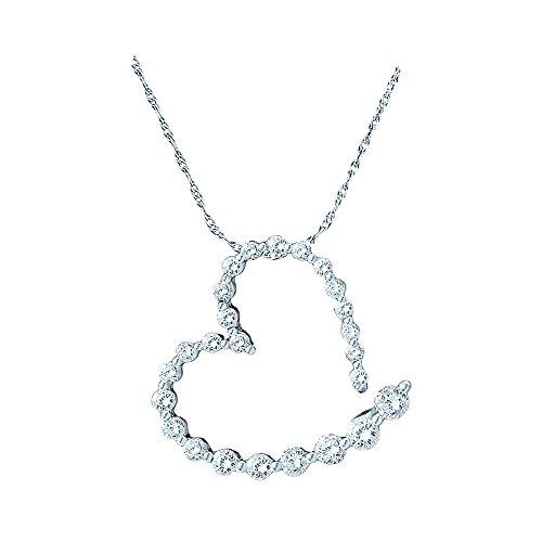 Roy Rose Jewelry 14K White Gold Ladies Diamond Graduated Heart Journey Pendant 1-Carat - Pendant Diamond Carat Journey One