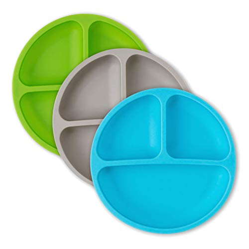 Dishwasher Safe Microwave Safe Plates - hippypotamus Silicone Divided Plates for Toddlers, Babies and Kids - Microwave, Dishwasher and Freezer Safe - 3 Pack - Blue, Green, Gray