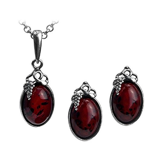 Gopher Jewelry Pendant (Cherry Amber Sterling Silver Classic Small Grape Leaves Stud Earrings Pendant Necklace Set Chain 18