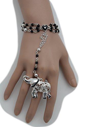 TFJ Women Cuff Bracelet Trendy Fashion Jewelry Elastic Mesh Metal Braided Stretch Gold