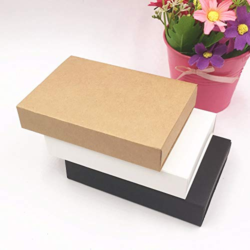 Ranggrgt 20PCS/Lot White/Black/Kraft Gift Box Retail Black Kraft Paper Drawer Box, Blank Gift Cardboard Boxes Carton Box (Custom Logo) White with Heart 11.5x8x2.2cm]()