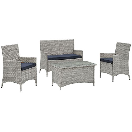 LexMod Bridge 4Piece Outdoor Patio Conversation Set in Light Gray Navy price