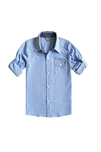 Bienzoe Big Boy 's Cotton Check Roll Up Sleeve Button Down Sports Shirts, LightBlue, 7/8