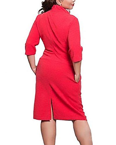 Rodilla Rojo Manga Sencillos Y De Cortos Mujer Elegantes Lapiz De Fiesta Tubo Cuello Stand Ajustados Vestidos Vestidos 4 Moda Noche Vintage Vestidos De Rodilla Jovenes De 3 Vestidos Cóctel gqq6PFf4