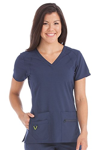 Med Couture Women's 'Activate' Refined Scrub Top, Navy, Medium