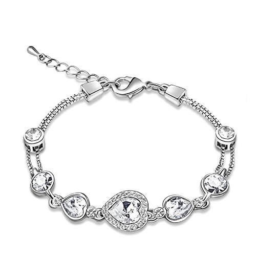 JingChow Women Heart Shaped Swaroski Elements Crystal Tennis Bracelet (White)