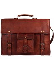 18 Inch GENUINE LEATHER Rustic Crossbody Messenger Courier Satchel Bag Gift Men Women ~ Business Work Briefcase...