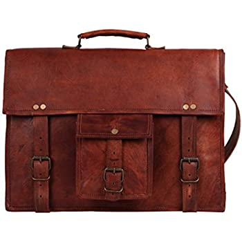 Amazon.com: 18 Inches Brown Leather Cross-body Messenger Bag ...