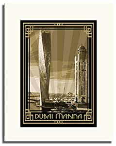 Dubai Marina- Sepia With Gold Border F05-m (a3) - Framed