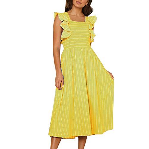 Mysky Fashion Women Summer Classic Striped Long Dress Ladies Casual Brief Ruffle Short Sleeve Maxi Dress Yellow