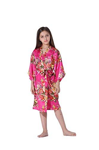 Vogue Forefront Girls' Floral Print Satin Kimono Robe Bathrobe, Size 6, Hot Pink (Floral Print Wrap Robe)