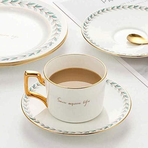 Coffee cup set LHY Keramische Koffiekopje Witte Cup Set Middag Theekop Gift Cup En Theepot Combinatie Exquisite (Maat: 6-set)