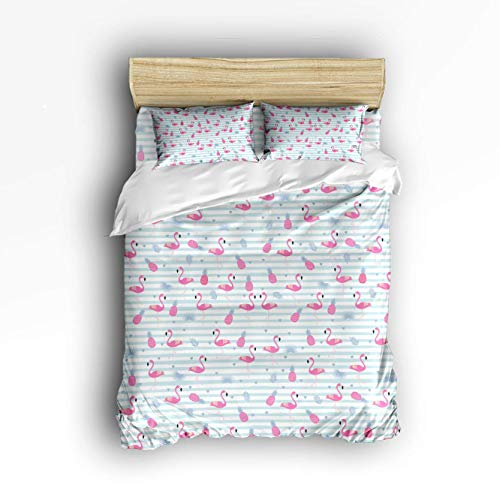 COVASA Luxury 4-Piece Bedding Set Flamingo with Pineapple Blue Stripes Duvet Covers Set Duvet Cover Bed Sheet Pillow Cases Twin Pattern ()