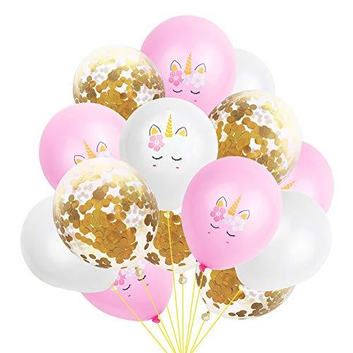 Latex Kawaii Unicorn Balloons Latex & Gold Confetti Birthday Wedding 15 Pcs (Kawaii Balloons)