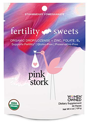 Pink Stork Fertility Sweets: Supports Fertility, Strawberry-Pomegranate, Hard Drops with Folate, Zinc, Vitamin B6, USDA Organic, Non-GMO & Preservative Free, 30 Individually Wrapped Hard Sweets